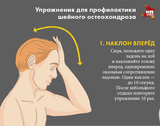 Первое оздоровительное упражнение при шейном остеохондрозе