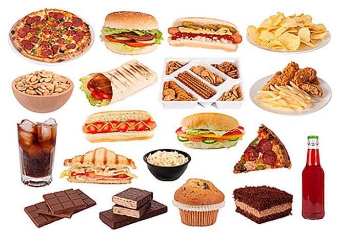 Пример продуктов питания и блюд вызывающих зависимость