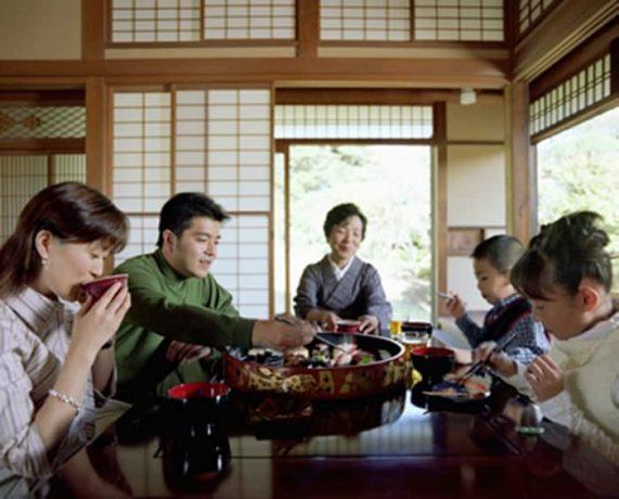 Специальная сервировка и конкретные манеры поведенияч за столом.
